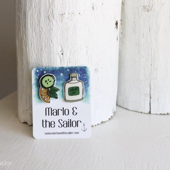 gin and tonic drink slice of lime & cucumber stud earrings by marlo & the sailor from have you met charlie a gift shop with unique handmade australian gifts in adelaide south australia