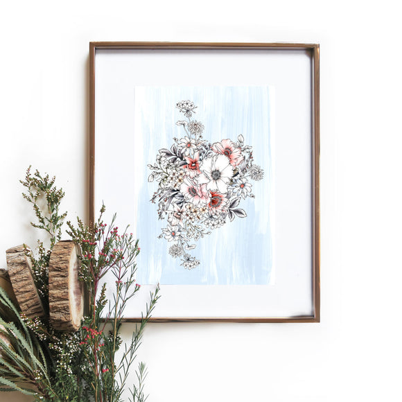 pale blue floral bouquet art print by typoflora hand drawn illustrated available from have you met charlie a unique gift shop in adelaide south australia