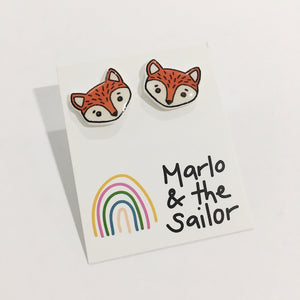 cute orange and white fox face stud earrings by marlo & the sailor from have you met charlie a gift shop with unique handmade australian gifts in adelaide south australia