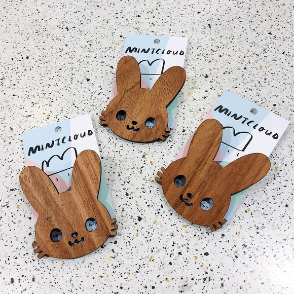 Mintcloud Easter Brooch - Large Wooden Bunny  from Have You Met Charlie? a unique gift shop in Adelaide South Australia