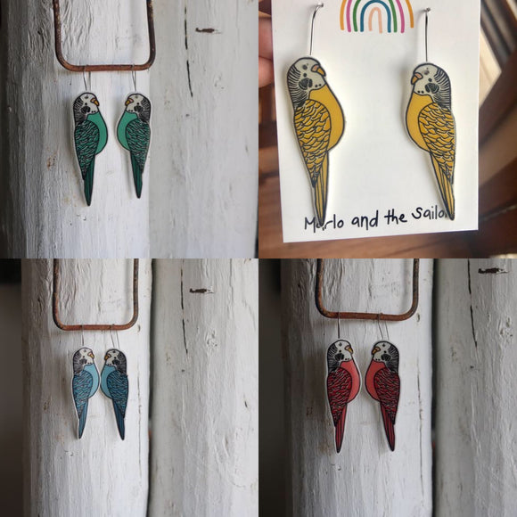 green blue yellow and red budgie dangle earrings by marlo and the sailor from have you met charlie a giftshop with unique handmade australian gifts in adelaide south australia