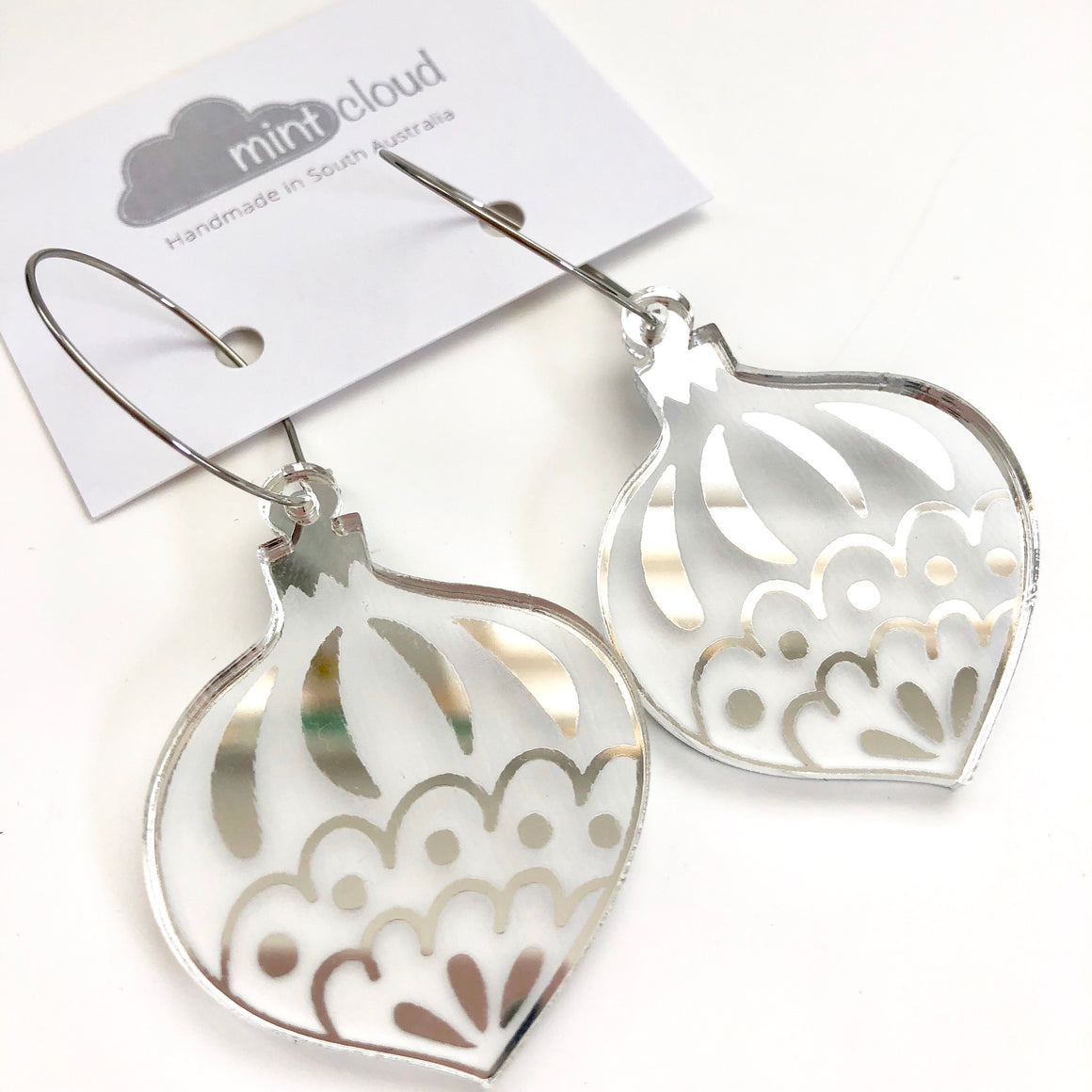 Mintcloud Christmas Traditional Bauble Earrings - Silver Mirror
