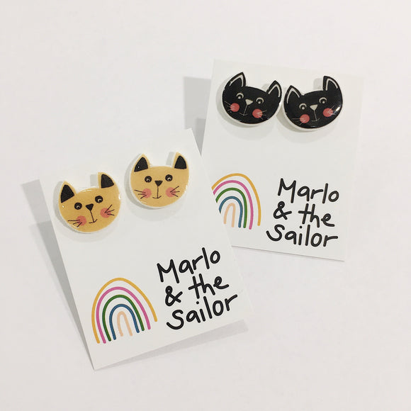 cute brown and black cat faces stud earrings by marlo & the sailor from have you met charlie a gift shop with unique handmade australian gifts in adelaide south australia