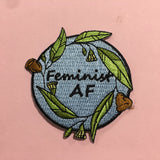 blue feminist AF iron on patch by patch press from have you met charlie a gift shop with Australian unique handmade gifts in Adelaide South Australia