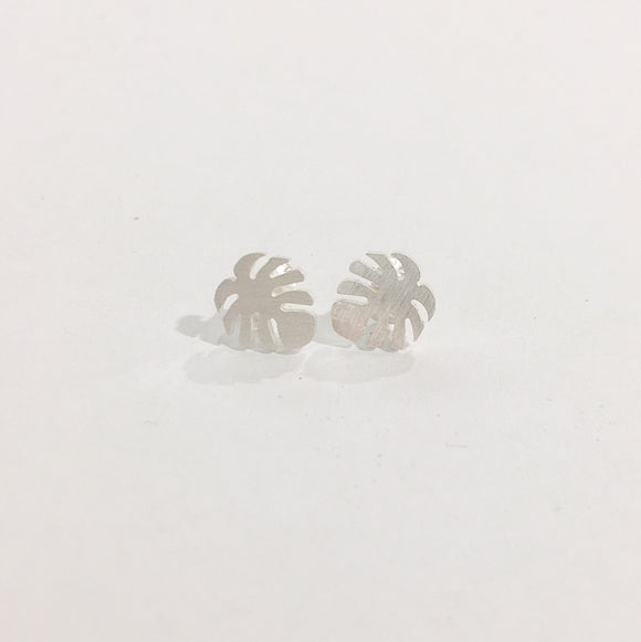 Stainless Steel Earrings - Monstera