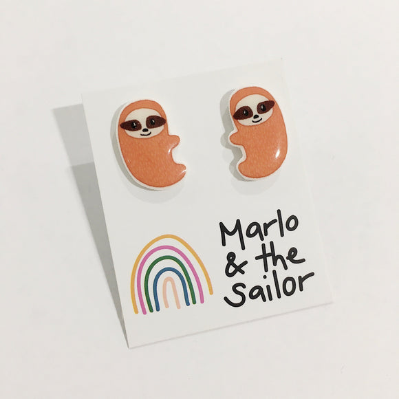 brown sloth animal stud earrings by marlo & the sailor from have you met charlie a gift shop with unique handmade australian gifts in adelaide south australia