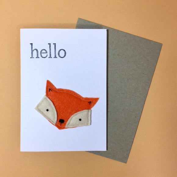 orange fox felt card by fleeci from have you met charlie a gift shop with Australian unique handmade gifts in Adelaide South Australia