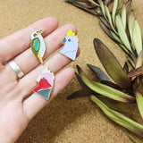 various australian birds enamel pins by patch press from have you met charlie a gift shop with Australian unique handmade gifts in Adelaide South Australia