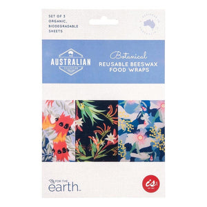 The Australian Collection Botanical - Reusable Beeswax Food Wraps - Set of 3