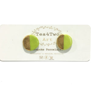 Tea 4 Two Art Earrings - Half Gold Studs - Various