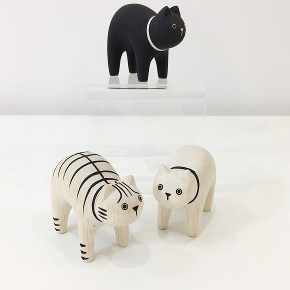 hand carved cats in black white and striped from unique gift shop have you met charlie in adelaide south australia