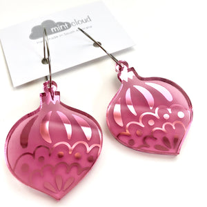 Mintcloud Christmas Traditional Bauble Earrings - Pink Mirror