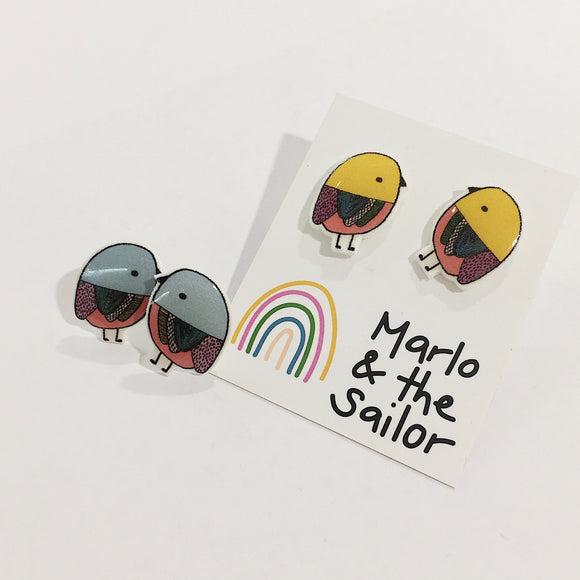 blue and yellow bird stud earrings by marlo & the sailor from have you met charlie a gift shop with unique handmade australian gifts in adelaide south australia