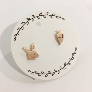 Stainless Steel Earrings - Bunny & Carrot