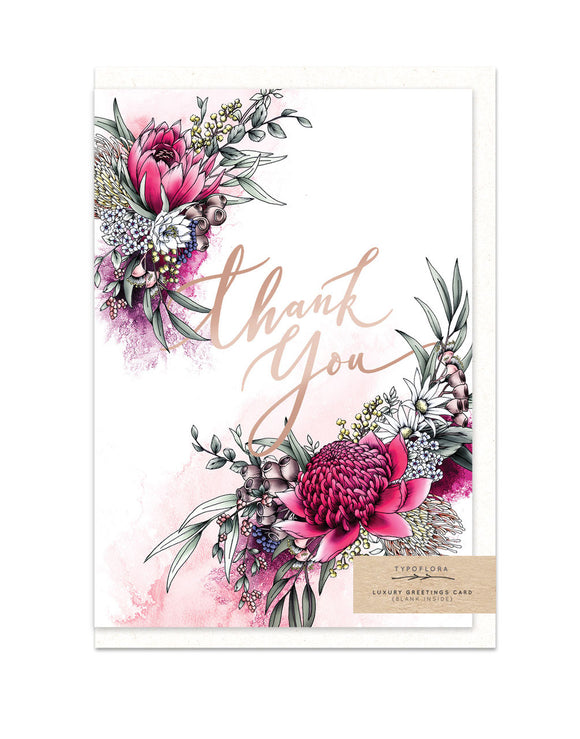 Gorgeous thank you greeting card with floral illustration and rose gold finish from have you met charlie unique gift shop in adelaide south australia