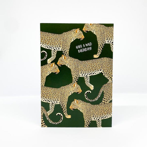 Red Parka Greeting Card - have a wild birthday leopard from have you met charlie a gift shop with Australian unique handmade gifts in Adelaide South Australia