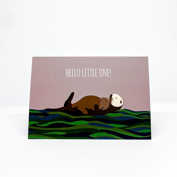 Red Parka Greeting Card - hello little one otter baby from have you met charlie a gift shop with Australian unique handmade gifts in Adelaide South Australia