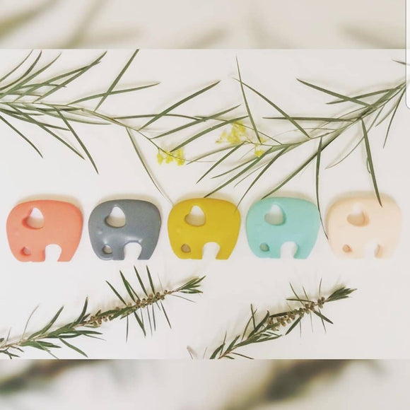 various elephant baby teethers by indi & frey from have you met charlie a gift shop with Australian unique handmade gifts in Adelaide South Australia