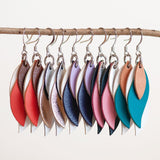 various coloured kangaroo leather leaf shape dangles by KI and Co from have you met charlie a unique gift shop with handmade australian gifts
