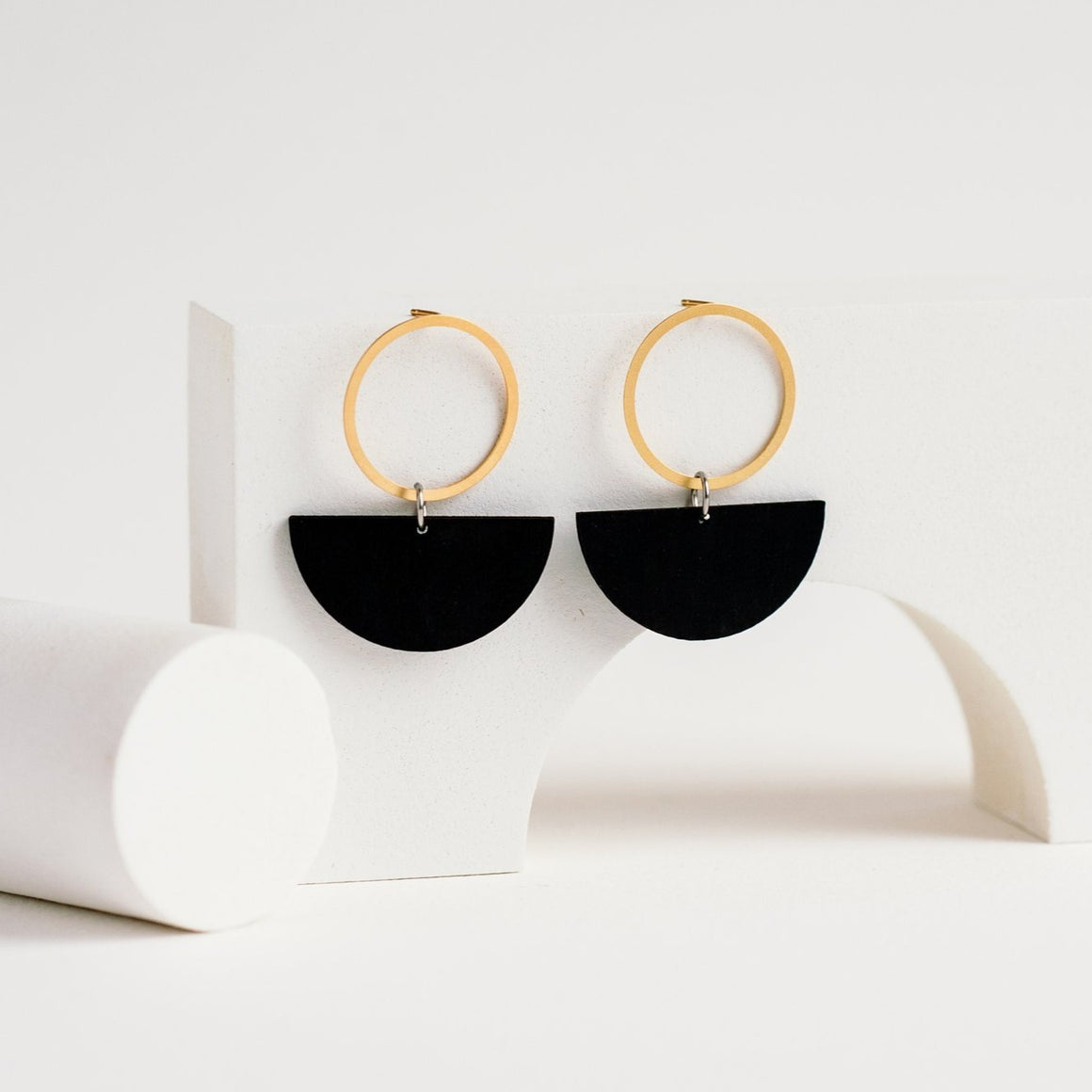 Linda Marek Designs Gold Plated Brass Earrings - Lunar Hoop