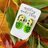 yellow green budgie stud polymer clay earrings by marley made this from have you met charlie a gift shop with unique handmade australian gifts in adelaide south australia