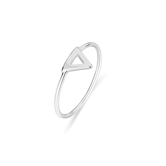 Simple Sterling Silver stacker ring with open triangle detail from unique gift shop have you met charlie in adelaide south australia