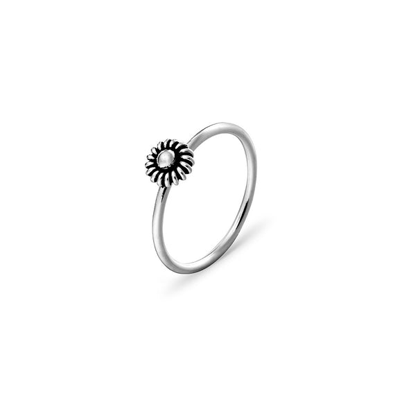 Sterling Silver stacker ring with daisy flower detail available from have you met charlie in adelaide south australia