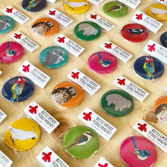 animal red parka bottle opener magnets from have you met charlie a gift shop with handmade australian gifts in adelaide south australia
