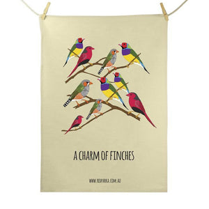 Red Parka Tea Towel - Charm of Finches