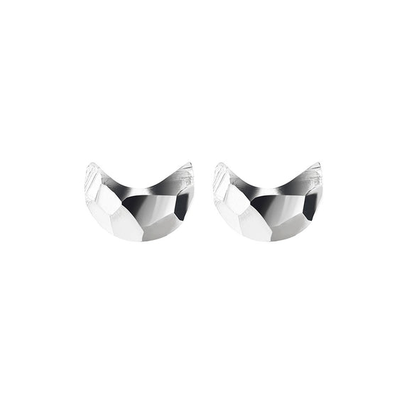 Simple Sterling Silver studs in half moon shape with hammered finish from unique gift store have you met charlie in adelaide south australia