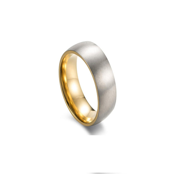 Stainless Steel Men's Ring - Silver Gold Internal