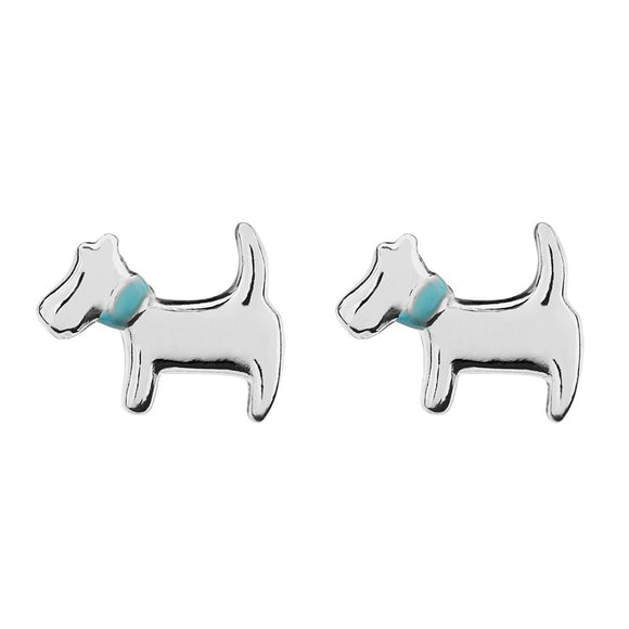 sterling silver dog studs with blue collar detail from unique gift shop have you met charlie in adelaide south australia