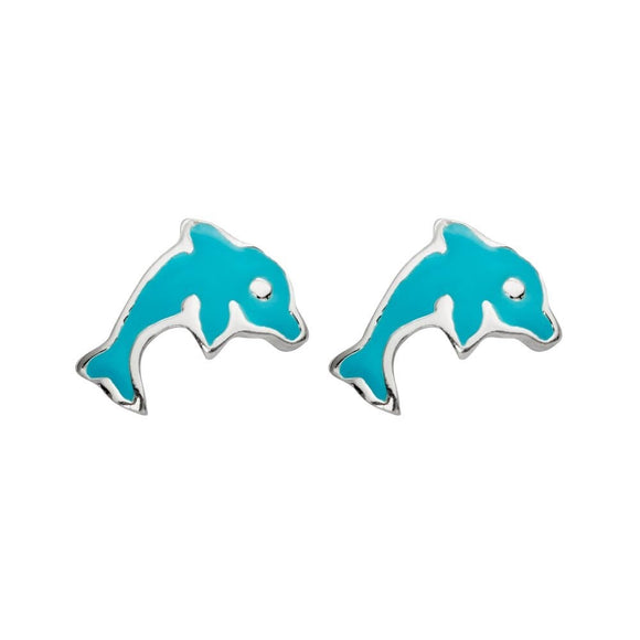 simple sterling silver studs in cute blue dolphin design from unique gift shop have you met charlie in adelaide south australia