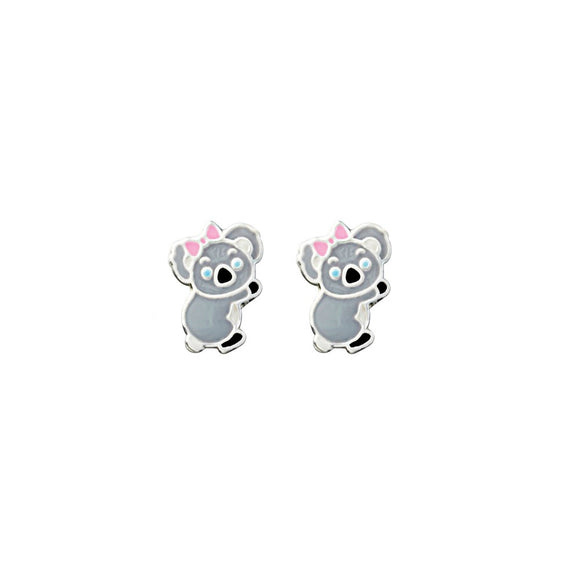 Cute Sterling Silver koala studs with blue eyes and pink bow detail from unique gift shop have you met charlie in adelaide south australia
