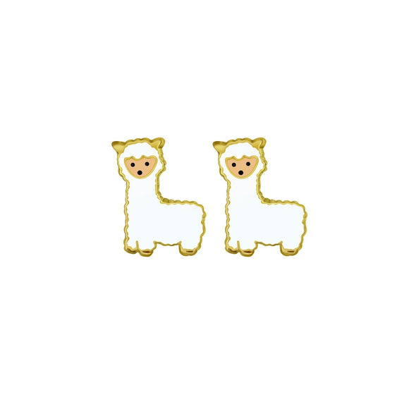 gold plated sterling silver adorable llama alpaca studs from unique gift shop have you met charlie in adelaide south australia