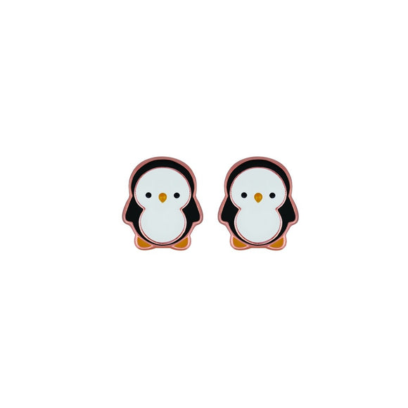 cute sterling silver rose gold plated studs in black and white baby penguin design from unique gift shop have you met charlie in adelaide south australia