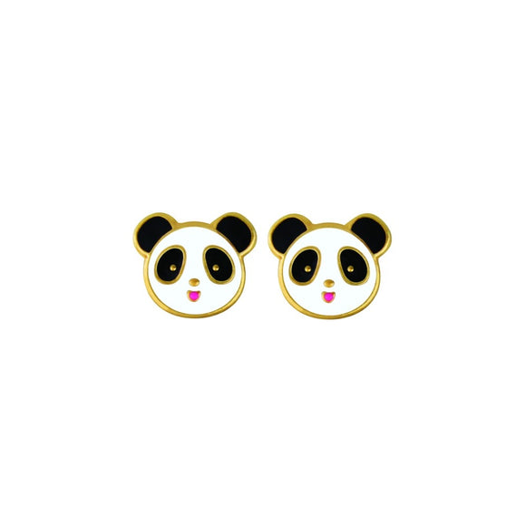 cute gold plated sterling silver studs with black and white panda face design from unique australian gift shop have you met charlie in adelaide south australia