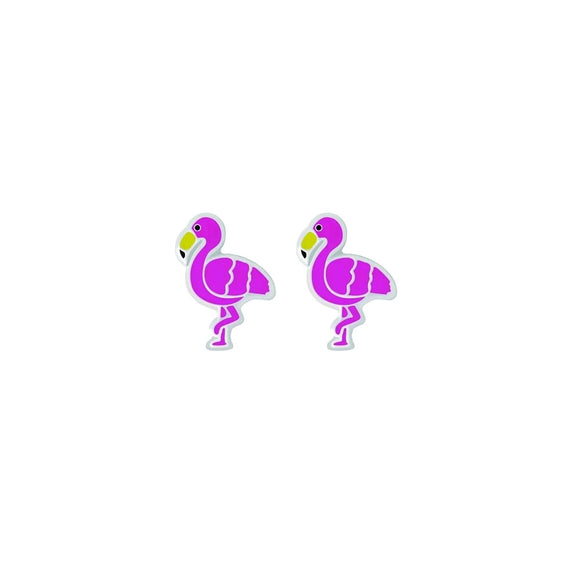bright pink flamingo tiny sterling silver studs from unique gift shop have you met charlie in adelaide south australia