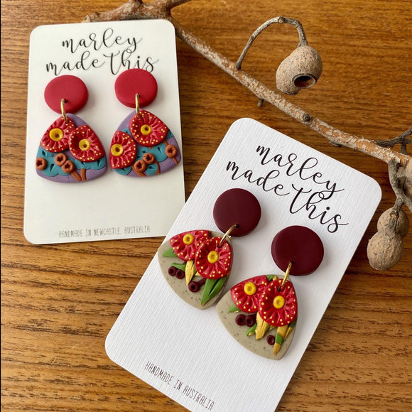 flowering gum maroon stud polymer clay earrings by marley made this from have you met charlie a gift shop with unique handmade australian gifts in adelaide south australia
