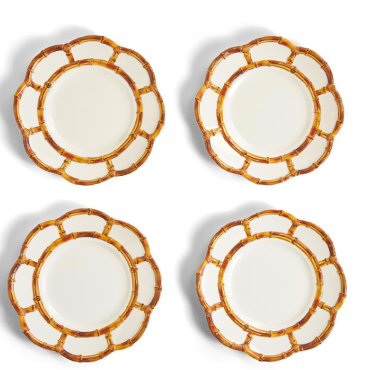 Set of 4 Bamboo Touch Accent Plate with Bamboo Rim (Dishwasher Safe/Shatter-Resistant) - 100% Melamine