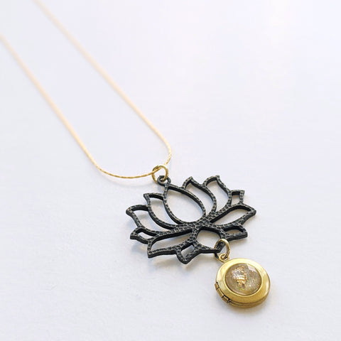 """Golden lotus"" black brass locket necklace"
