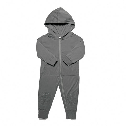 Charcoal Grey Grip N' Go Romper - Bamboo