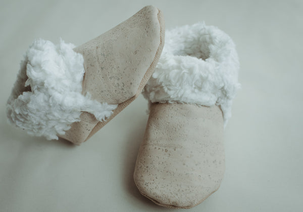 Eco Friendly Faux fur cork baby booties
