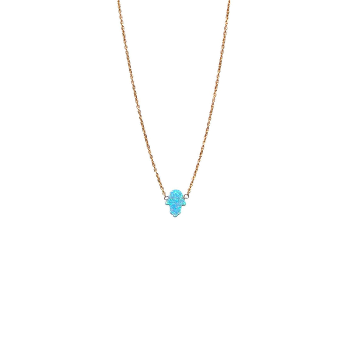 bright blue opal hamsa hand necklace by Karma Links Jewellery