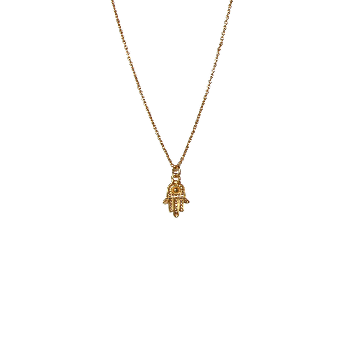 gold Hamsa hand necklace for protection by Karma Links Jewellery