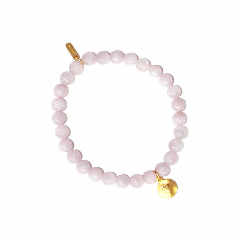gold heart charm on kunzite beads
