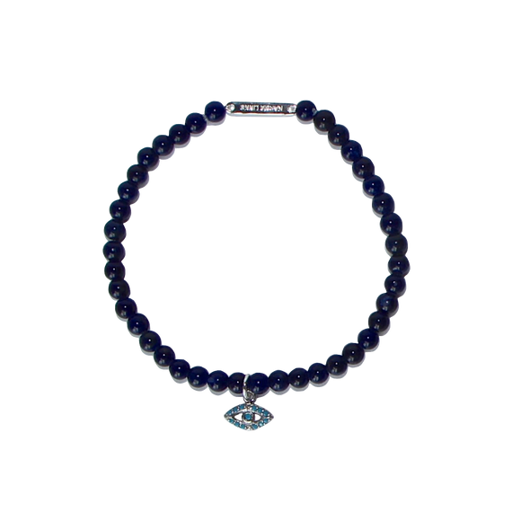evil eye bracelet in blue sodalite by Karma Links Jewellery
