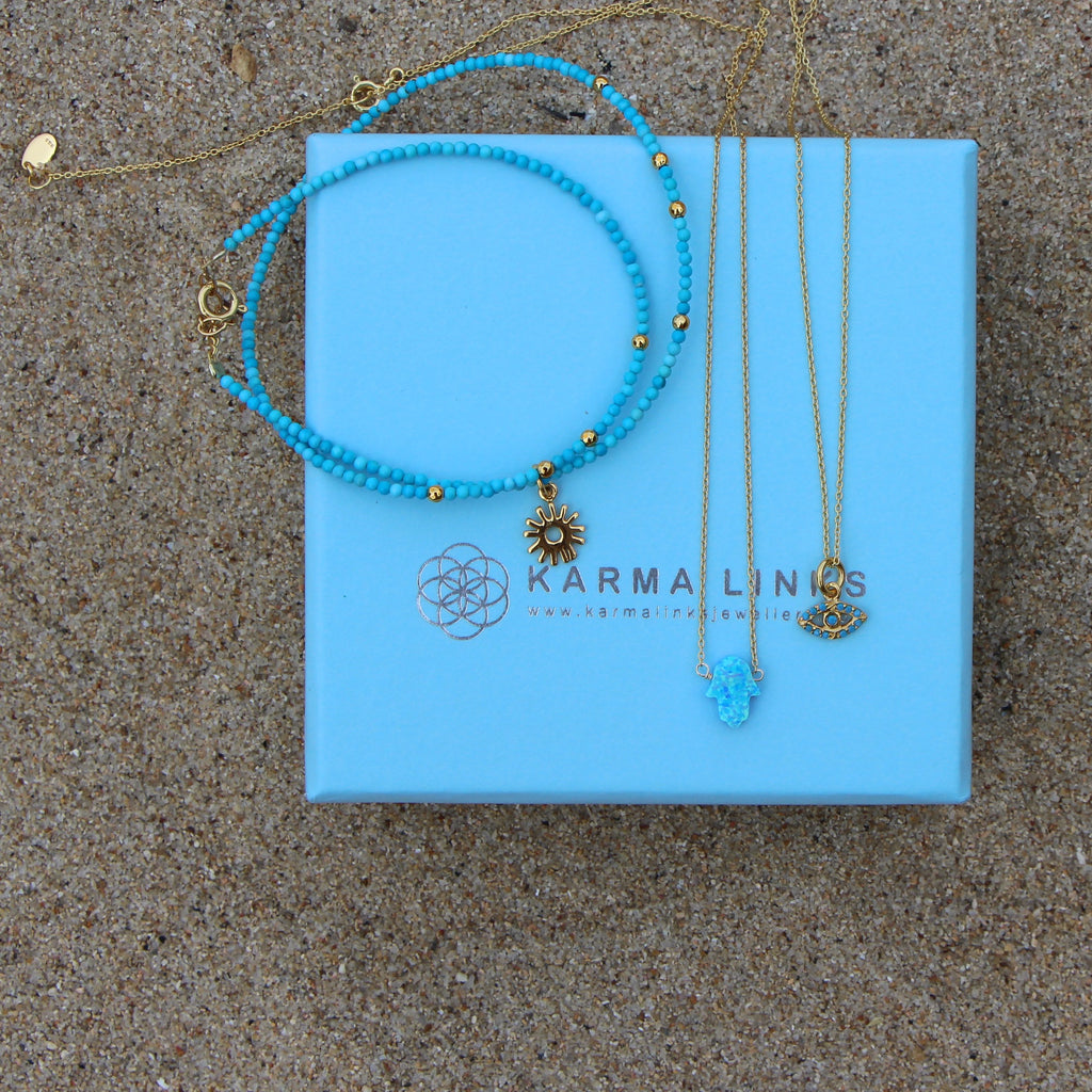 Bright Blue Hamsa Hand Necklace
