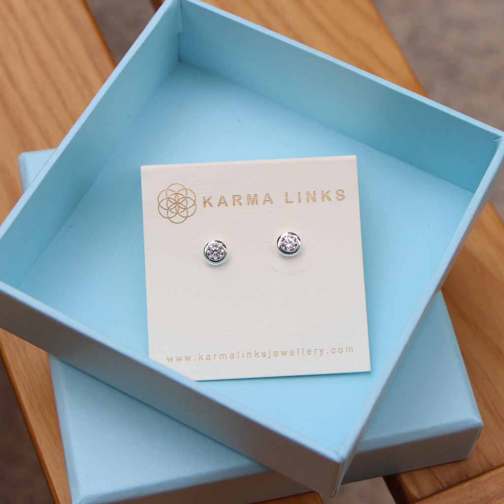 silver sparkling button stud earrings  by Karma Links Jewellery