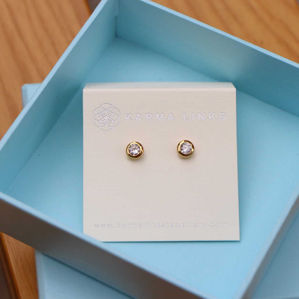 gold sparkling button stud earrings by Karma Links Jewellery
